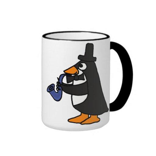 Penguin AF in einem Tuxedo, der die Saxophone-Tass Tee Haferl