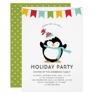 Penguin, Flagge u. niedliches Feiertags-Party der Karte