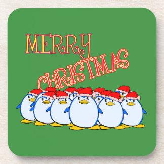 Penguin-frohe Weihnacht-Untersetzer Untersetzer