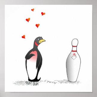 Penguin in der Liebe mit Bowlings-Button-Druck Posterdrucke