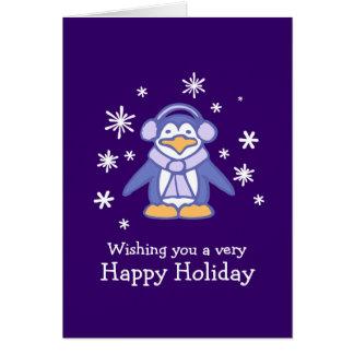 Penguin-lila Weihnachtskarte Karte