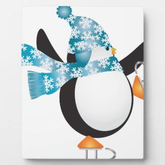 Penguin mit blauer Hut-Eis-Skaten-Illustration Fotoplatte