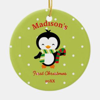 Penguin-und -polka-Punkte des Babys niedliche Keramik Ornament