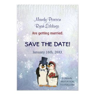 Penguin-Winter-Schneeflocken, die Save the Date Magnetische Karte