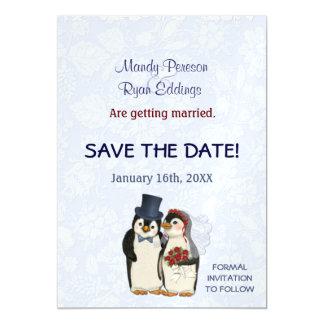 Penguin-Winter Wedding magnetisch Save the Date Magnetische Karte