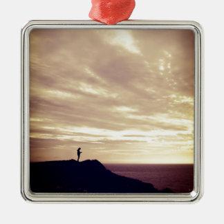 Pennard Klippen am Sonnenuntergang, Gower, Swansea Silbernes Ornament