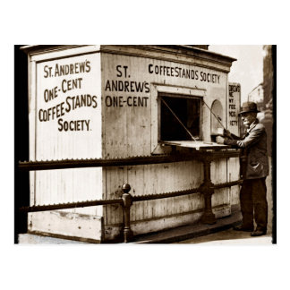 Penny-Kaffee-Stand der Krisen-Ära-eine Postkarte
