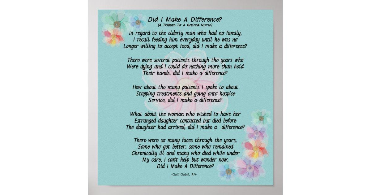 Pensioniertes Krankenschwester-Gedicht unterschie Poster