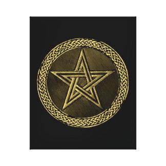 Pentacle Celtic Circle -  gold / copper version Leinwanddruck