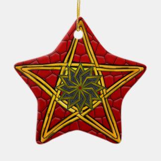 Pentagram - Gold, rot u. lila - Doppeltes versah Keramik Ornament