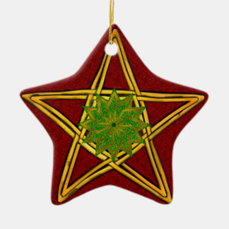 Pentagram - Gold-, Rote u. Grüneverzierung für Keramik Ornament