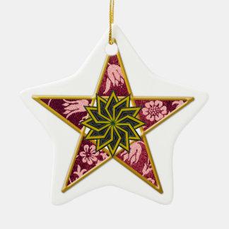 Pentagram - Gold u. Rot auf Weiß Keramik Stern-Ornament