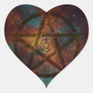 Pentagram Herz-Aufkleber