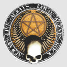 Pentagram Rock and roll skull Runder Aufkleber