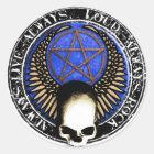 Pentagram Rock and roll skull Runder Aufkleber