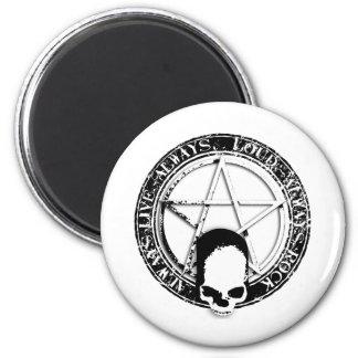 pentagram rock and roll skull wings runder magnet 5,1 cm