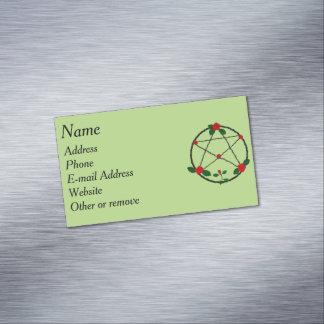 Pentagramm der Reben und der Roten Rosen Magnetische Visitenkarten