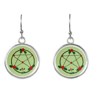 Pentagramm der Reben und der Roten Rosen Ohrringe