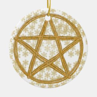 Pentagramm-doppelte gesponnene Flechtweiden-u. Keramik Ornament