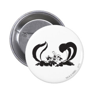 Pepe Le Pew und Penelope 4 Runder Button 5,1 Cm