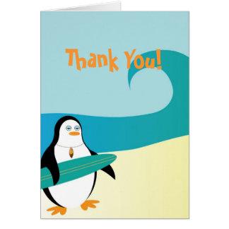 Pepe Surfer-Pinguin danken Ihnen zu kardieren Karte