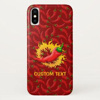 Peperoni mit Flamme auf rotem Hintergrund iPhone X Hülle