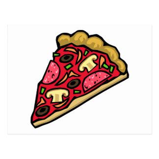Pepperoni-Pizza mit Pilzen, Paprikaschoten und Postkarte