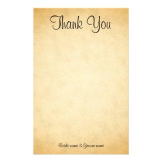 Pergament-Muster-Entwurfs-Hochzeit danken Ihnen Individuelles Büropapier