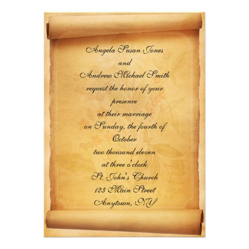Pergament-Rolle-Hochzeits-Einladung