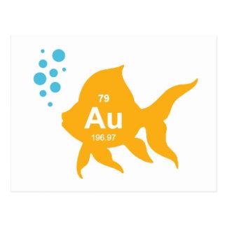 Periodensystem-elementare Goldfische Postkarte
