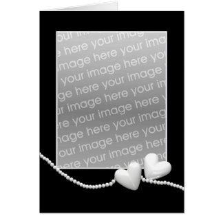 Perlen-Herzen auf Schwarzem (Fotorahmen) Karte