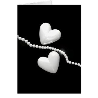 Perlen-Herzen auf Schwarzem Grußkarte