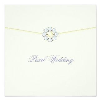 Perlen-Hochzeitstag mit Diamanten u. Perlen Quadratische 13,3 Cm Einladungskarte