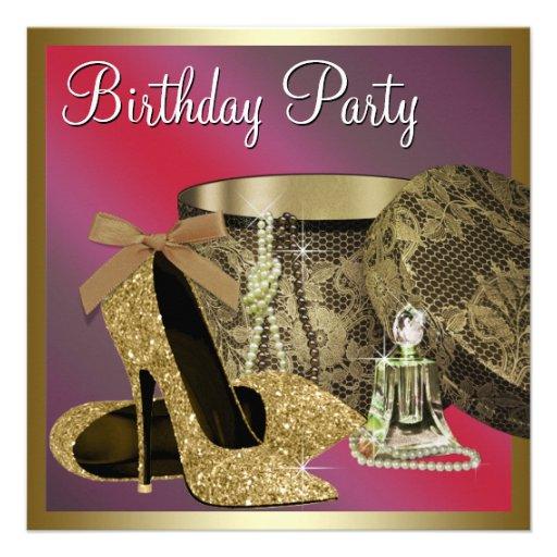 Perlen-hoher Absatz beschuht den roten Geburtstag Personalisierte Einladung