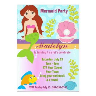 Perlen-Meerjungfrau-Pool-Party 12,7 X 17,8 Cm Einladungskarte