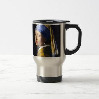 Perlen-Ohrring ~ Vermeer des Mädchen-w Edelstahl Thermotasse