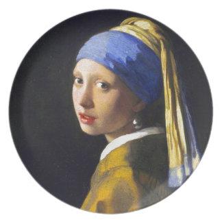 Perlen-Ohrring ~ Vermeer des Mädchen-w Flache Teller