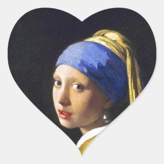 Perlen-Ohrring ~ Vermeer des Mädchen-w Herz-Aufkleber