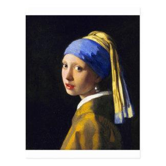 Perlen-Ohrring ~ Vermeer des Mädchen-w Postkarte