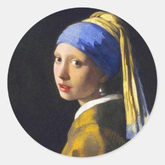 Perlen-Ohrring ~ Vermeer des Mädchen-w Runder Aufkleber
