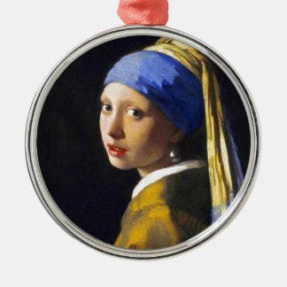 Perlen-Ohrring ~ Vermeer des Mädchen-w Rundes Silberfarbenes Ornament