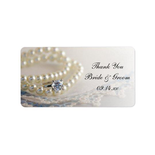 Perlen-Ring-danken blaue Spitze-Hochzeit Ihnen, Adressetiketten
