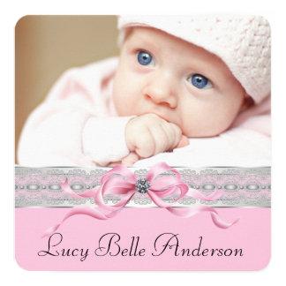 Perlen-rosa Baby-Geburts-Mitteilungen Quadratische 13,3 Cm Einladungskarte