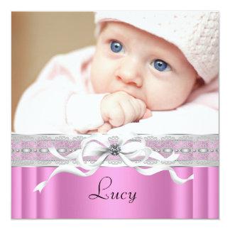 Perlen-rosa schwarze Baby-Mädchen-Foto-Geburt Quadratische 13,3 Cm Einladungskarte