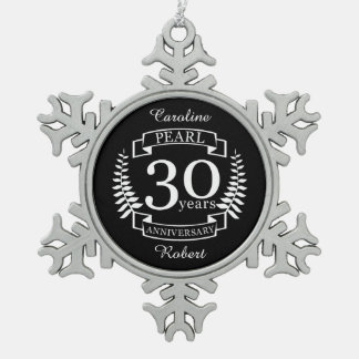 Perlen Sie 30. Hochzeitstag 30 Jahre Schneeflocken Zinn-Ornament