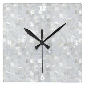 PERLMUTTdruck Weiß Quadratische Wanduhr