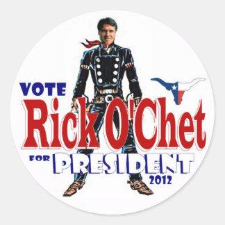 Perry der Abstimmungs-(RickO'Chet) Runder Aufkleber