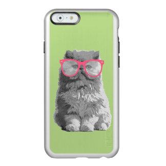 Persische Katze mit rosa Glas-niedlichem lustigem Incipio Feather® Shine iPhone 6 Hülle