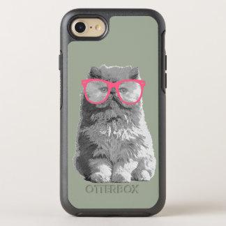 Persische Katze mit rosa Glas-niedlichem lustigem OtterBox Symmetry iPhone 8/7 Hülle