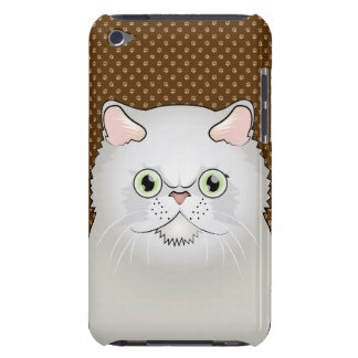 Persische Katzen-Cartoon (Flach-Gesicht, weiß) iPod Case-Mate Hülle